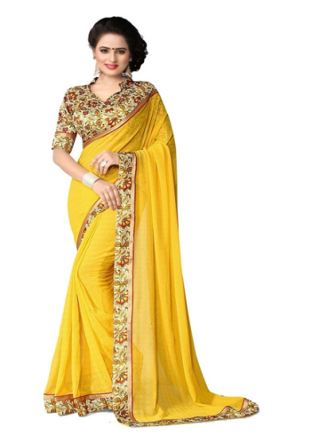 Cheap Sarees-Yellow Chiffon Saree With Designed Multi Colour Border 1