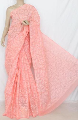 Chikankari Sarees-Peach Chikankari Saree With Over All Hand Embroidery 4