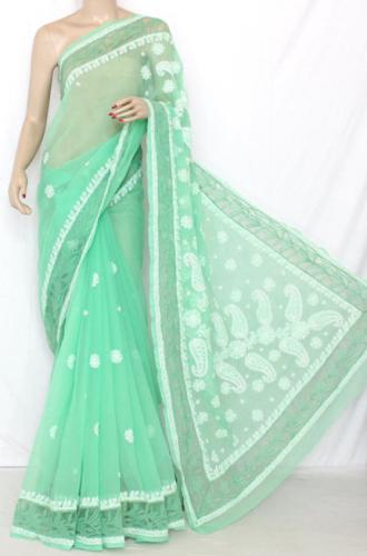 Chikankari Sarees-Pista Green Designer Hand Embroidered Lucknow Chikankari Saree 7