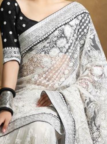 Chikankari Sarees-White Designer Chikankari Saree With Black Velvet Blouse 6