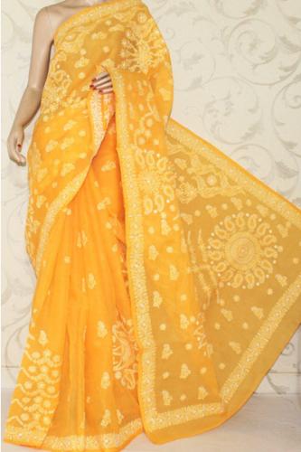 Chikankari Sarees-Yellow Embroidery Lucknow Chikankari 2