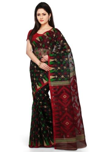 Colours Of Bengal Jamdani Cotton Silk Sari 2