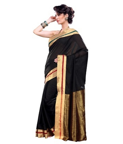 Cotton Sarees-Black And Golden Cotton Saree 27