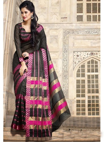 Cotton Sarees-Black And Pink Cotton Saree 30