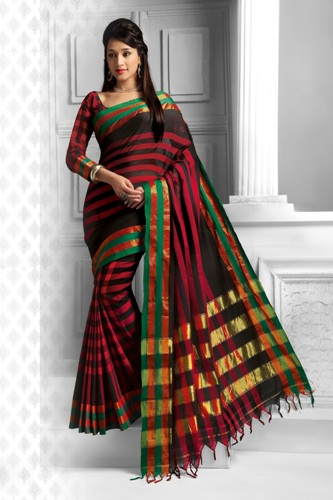 Cotton Sarees-Black And Red Cotton Saree 9