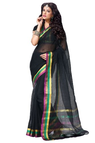 Cotton Sarees-Black Attractive Cotton Saree 4