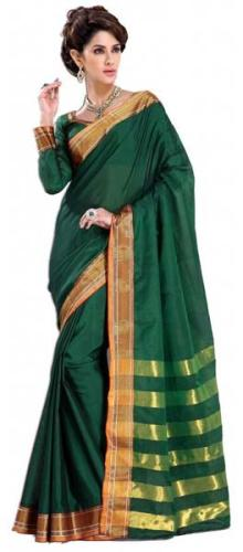 Cotton Sarees-Deep Green Cotton Saree 19