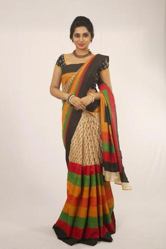 Cotton Sarees-Dhamki Multi Color Cotton Saree 11