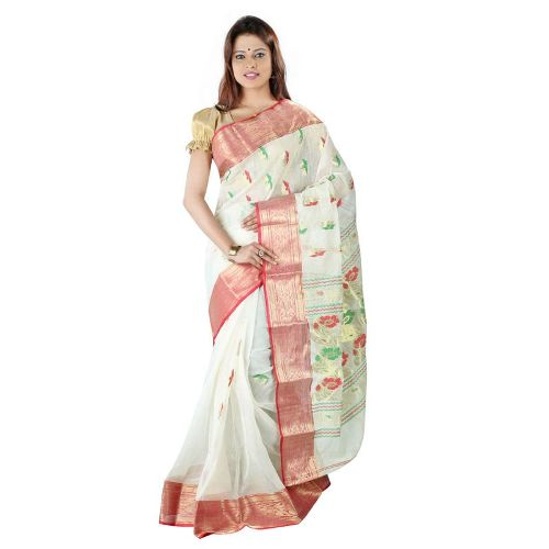 Cotton Sarees-Light Color Bengali Cotton Saree 8