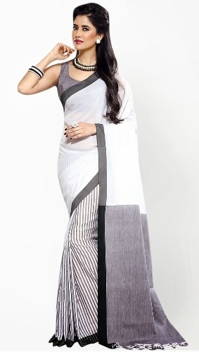 Cotton Sarees-Printed White Cotton Saree 28