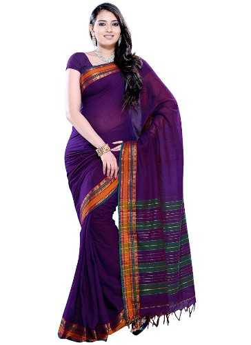 Cotton Sarees-Purple Cotton Saree 3