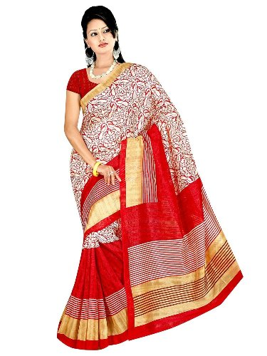 Cotton Sarees-Red Artistic Cotton Saree 18