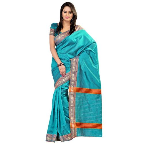 Cotton Sarees-Sky Blue Cotton Saree 12