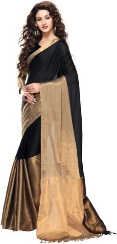 Cotton Sarees-Solid Gold And Black Cotton Saree 14