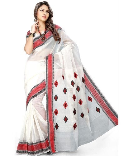 Cotton Sarees-White Cotton Saree With Innovative Designs 16