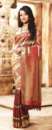 Cream And Maroon Samudrika Pattu Pothys Silk Saree