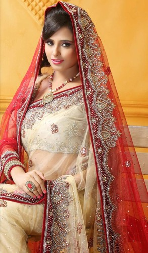 Cream And Red Bridal Saree 3