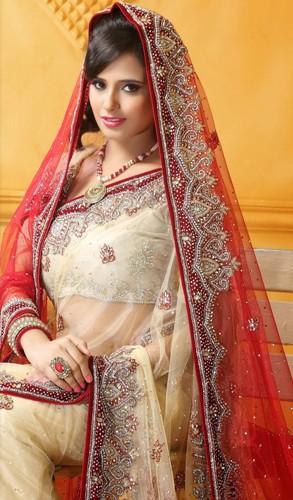 Cream And Red Bridal Saree 3