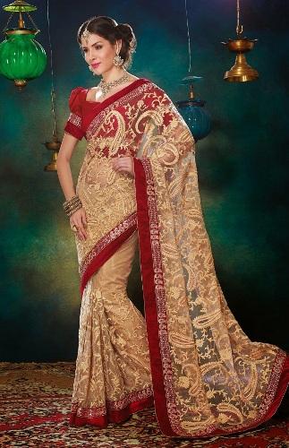 Cream-Coloured-Net-Sari-With-Heavy-Resham-Work-2