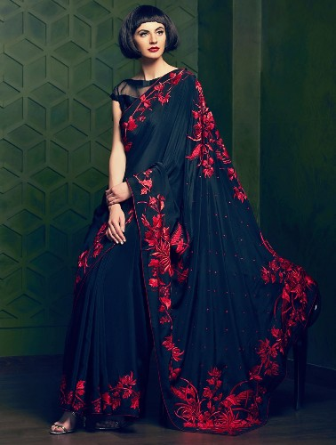 Crepe Sarees-Black And Red Parsi Gara Crepe Silk Saree 015