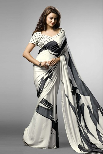 Crepe Sarees-Black And White Printed Crepe Saree 014