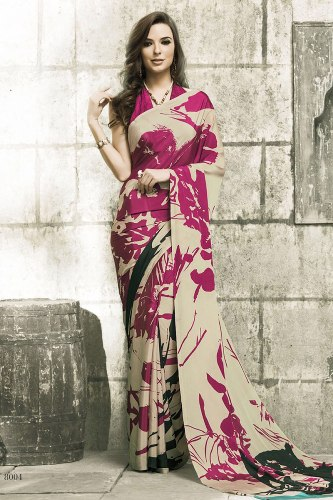 Crepe Sarees-Cream Crepe Silk Saree With Printed Works 05