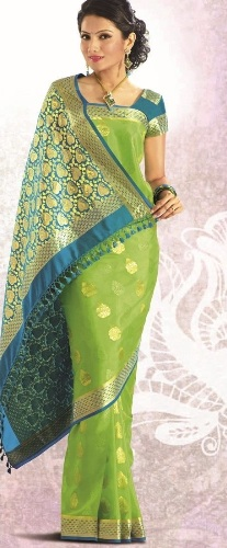 Crepe Sarees-Green Pure Crepe Kanchipuram Silk Saree 03