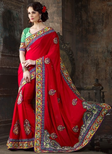 Crepe Sarees-Majestic Red Crepe Wedding Saree 010