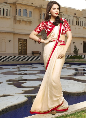 Crepe Sarees-Off-White And Red Crepe Satin Saree 08