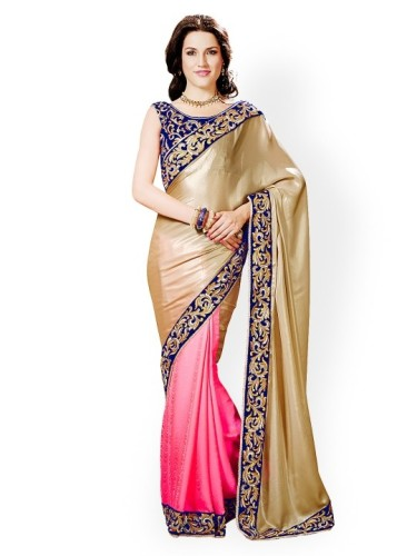 Crepe Sarees-Pink And Beige Crepe Half And Half Designer Saree 09