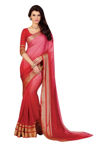 Crepe Sarees-Red Plain Crepe Saree 02