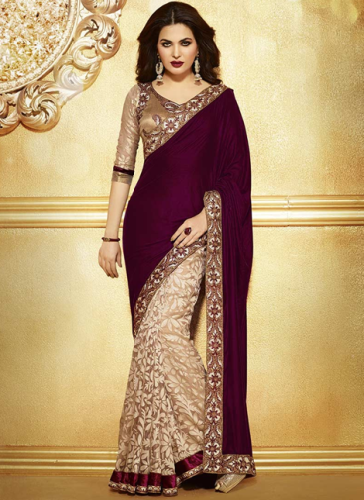 Dark Maroon-Cream Half Velvet And Half Brasso Designer Saree 3