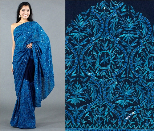 Embroidery Sarees-Aqua Blue Embroidery Saree 11