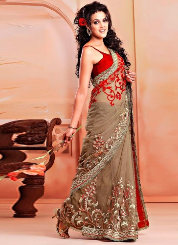 Embroidery Sarees-Beige Colored Saree 9