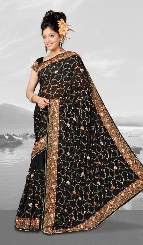 Embroidery Sarees-Black Heavy Embroidered Saree 15