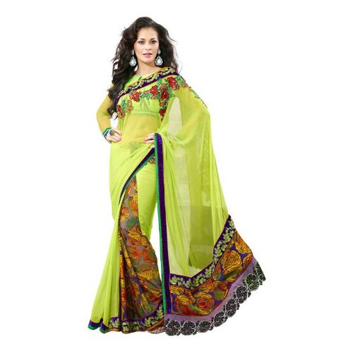 Embroidery Sarees-Light Green Colored Embroidery Saree 6