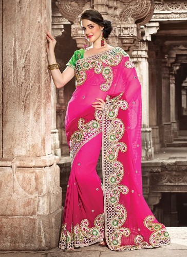Embroidery Sarees-Pink Embroidered Look 2