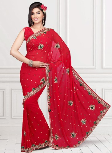 Embroidery Sarees-Red Designer Embroidery Saree 1