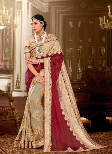 Embroidery Sarees-Wedding Georgette Embroidered Saree 10