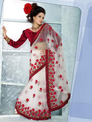 Embroidery Sarees-White Fancy Embroidered Saree 14