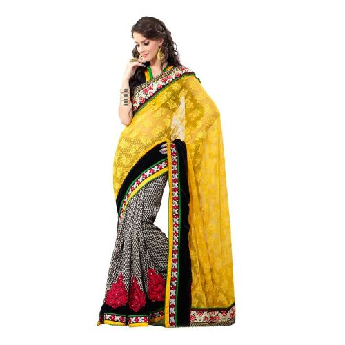 Embroidery Sarees-Yellow Colored Embroidery Saree 7
