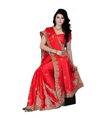 Extraordinary Surat Sarees-The Diva Red Surat Saree