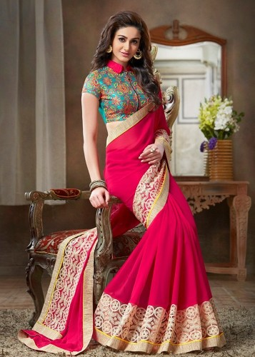 Fancy Saree For Full Neck Blouses 16
