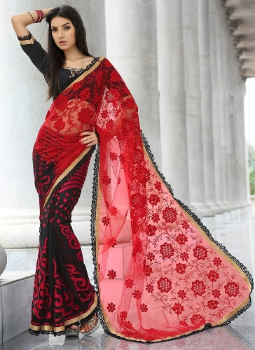 Fancy Sarees-Black And Red Net Saree 19