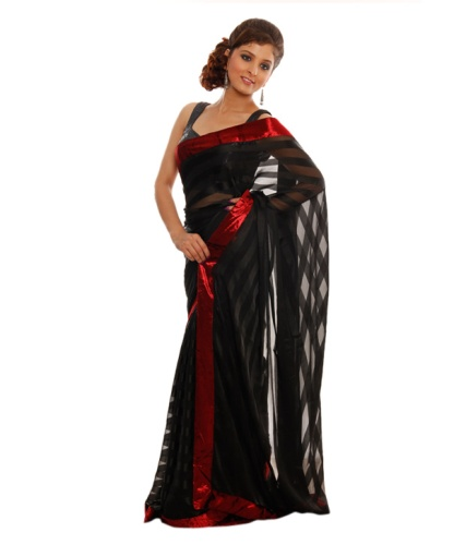 Fancy Sarees-Black Chiffon Saree 20