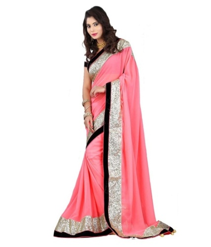 Fancy Sarees-Bollywood Designer Pink And Georgette Fancy Saree 23