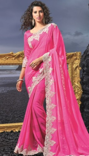 Fancy Sarees-Bollywood Pink Saree 12
