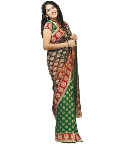 Fancy Sarees-Green And Black Design Saree 14