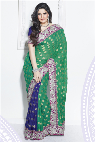 Fancy Sarees-Green Party Wear Fancy Saree 21