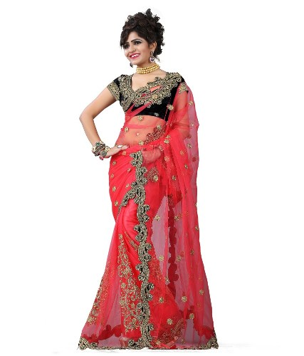 Fancy Sarees-Net Material Red Fancy Saree 15